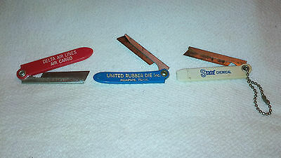 Vintage Lot Of 3 Advertising Box Cutters