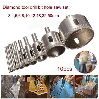 AU 10pcs 3-50mm Diamond Hole Saw Tile Drill Bit Ceramic Glass Coated Marble Tool