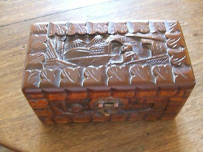 Small Carved Timber Box In Vg Condition.