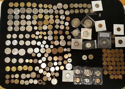 Huge Mixed Lot of 357 Assorted US & World coins . S PROOFS! BICENTENNIAL PROOFS!