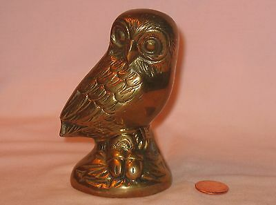 Vintage Brass Figure Of Highly Detailed Standing Owl