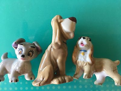 Wade Whimsies  Lady And Tramp Series Dogs X 3