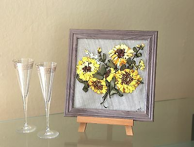 Silk Ribbon Embroidery Sunflowers Handmade Folk Art signed with frame