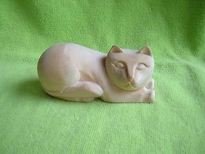 Wooden Cat Sculpture Hand Carved