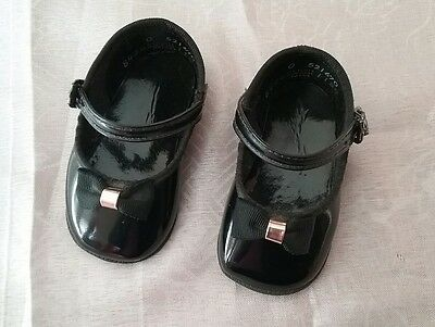 Vintage Childs Shoes Bow Front Black