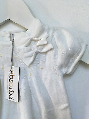 BNWT ABSORBA BOUTIQUE baby girl white flower girl baptism soft dress NEW 000