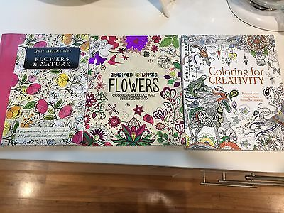 Three Adult Coloring In Books, New Unwanted Gift. Over 425 Pages!