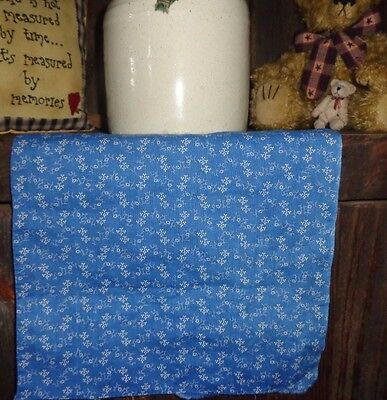 "Antique 19thc Fabric~ BEAUTIFUL*** Cadet Blue Calico Square~ 10.75"" x 10.75"""