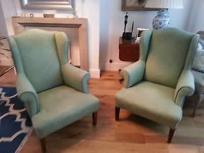 Pair of edwardian wing chairs