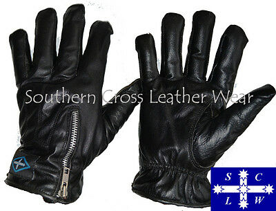Full Finger Leather Motorcycle Gloves with Zip Closure Size S-2XL