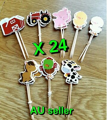 24 X Farm Animals Cupcake Topper Picks Cake Topper Zoo Animal Toppers