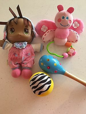 Cute soft body Playskool Doll & Butterfly, Wooden Rattle & Ball Collect Or Post