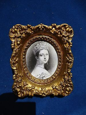 Portrait  Print  Of  Queen  Victoria In 1838 Under  Convex Glass
