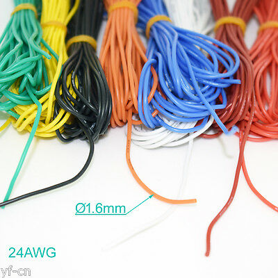 50 Meter 24AWG Flexible Soft Silicone Wire Tin Copper RC Electronic Cable 8color