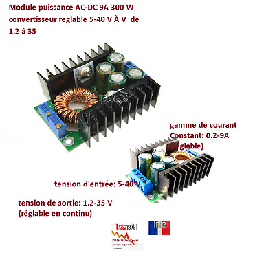 DC CC 9A 300 W Step Down Buck Convertisseur 5-40 V À 1.2-35 V Power module regla