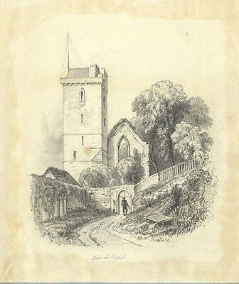 St Serf's Tower at Dysart, Fife - Original 19th-century graphite drawing