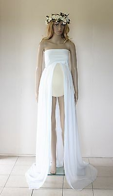 Ivory Strapless Chiffon Maternity Dress Gown - Photography Photo Prop