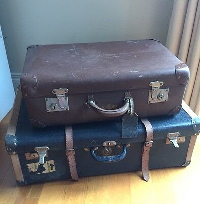 Vintage Suitcases -Large Blue (Airport Lifelong Luggage) & Small Brown (Globite)