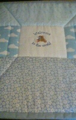 Pram / Crib Quilt - Pale Blue..Welcome to the World