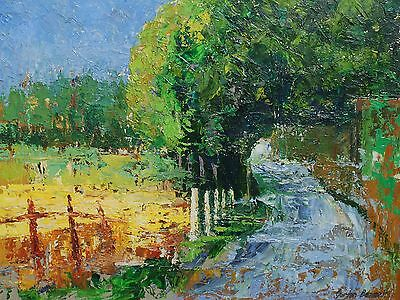 Signed Oil on board impasto painting of a country lane