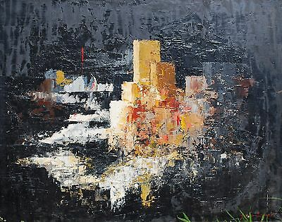 Mid 20th century British Abstract Landscape signed oil painting