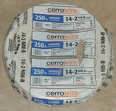 250' 14-2 w/Ground Cerro NM-B Indoor Copper Building Electrical Wire Made in USA