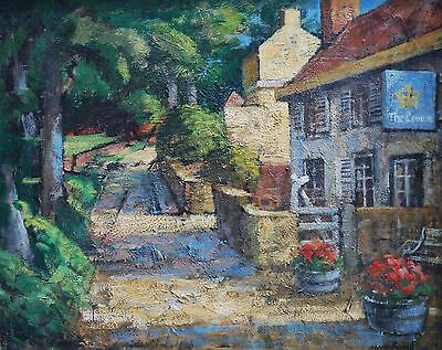 The Crown Inn Totley Sheffield signed oil on board painting