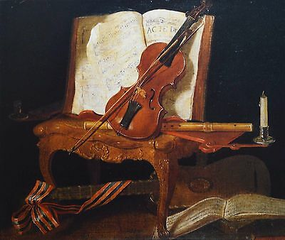 Antique Traditional Still Life Painting with Violin, French Classical Art Print