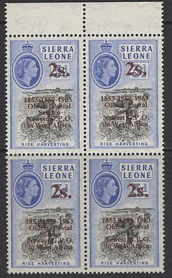 "SIERRA LEONE SG278b 1963 2/= on 3d BLACK & BRIGHT BLUE ""1853/1859/1963"" MNH"