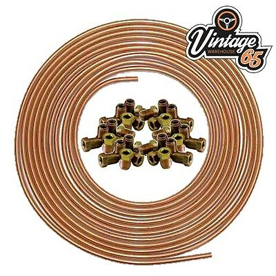 Copper Brake Pipe Hose Line 25Ft 3/16 4.76Mm 1 Roll + 20 Nuts Female / Male 10Mm