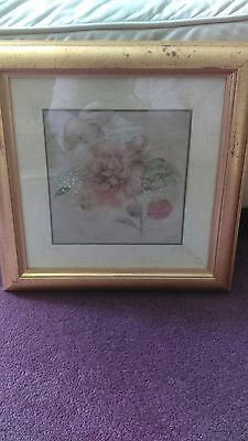 This Beautiful Antique Gold Picture Frame With  Pink Flower  Size 15.5 X 16-5 In