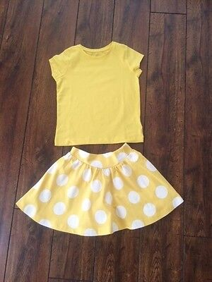 Girls ex high street lemon polka summer skirt top set outfit age 2-3 3-4 years