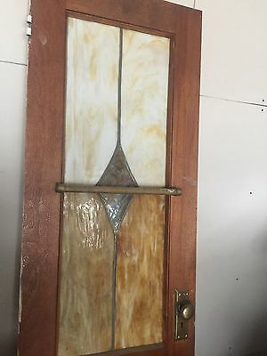 ANTIQUE AMERICAN STAINED GLASS PANTRY DOOR ~ 24x 82.5 ~ ARCHITECTURAL Early 1900