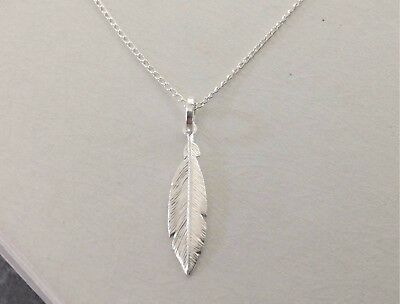 925 Sterling Silver Feather Necklace or Pendant Small White Feather Gift Boxed