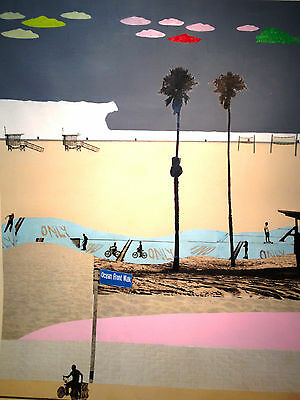 Bonnie & Clyde - Ocean Front Walk Signed Original MIxed Media Collage