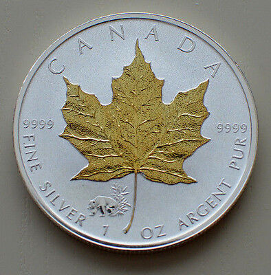 2017 Canadian 1 oz Silver Maple Leaf Panda Privy gold gilded .999 Silver Coin