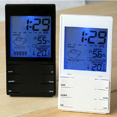 Digital LCD Hygrometer Thermometer Humidity Meter Room Temperature Indoor Clock