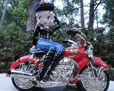 Biker Betty Boop Motorcycle Animated Cookie Jar Hand Painted By CLAYART