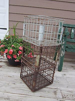 One Vtg DIXIE DAIRY/DEAN Food Metal Wire Milk Crate Carrier ~Rustic Storage Box