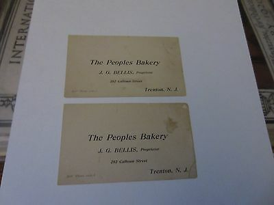 2 The Peoples Bakery  cards from Trenton NJ