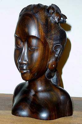 Beautiful finely carved High Quality Indonesian Wooden Head Carving of Woman.