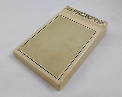 Antique Stoneware Ceramic / Pottery Notepad / Memoranda Pad c Early 1900s