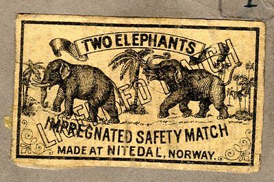FPA OLD MATCHBOX LABELS nr84- Two elephants, Norway