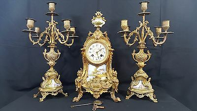 ANTIQUE FRENCH  SPELTER  GILDED MANTLE SHELF CLOCK. 3 pc. Set