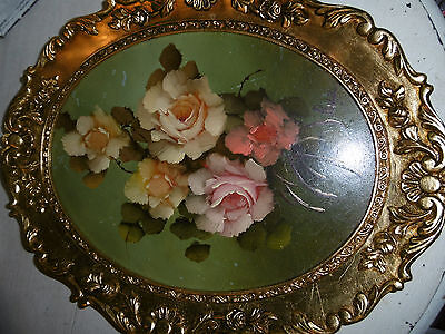 Vintage floral oil painting in elaborate gold frame from Malaga