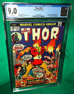The Mighty Thor 225. 1st appearance Firelord. CGC Universal 9.0 VF/NM