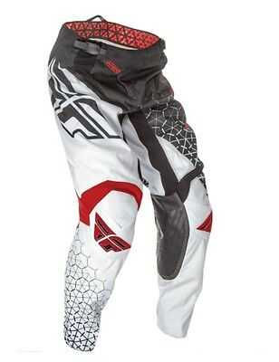 Fly Kinetic Youth Riding Pants Blk/white/red Waist Size 26 Ships Free