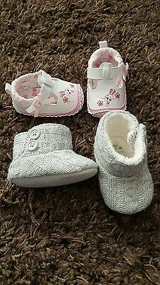 2 x pairs baby shoes 0-3m