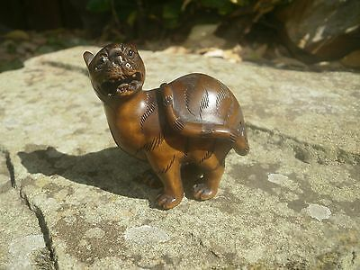 Hand Carved wood netsuke panther turns & growls, vintage / antique style figure