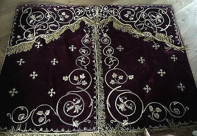 Pair of Religious 19th century gold work Tabernacle Velvet curtains